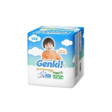 (送濕巾2包)日本 王子 GENKI 超柔軟褲型紙尿褲XXL108片(18片x6包)箱購-廠送 活動至09/30
