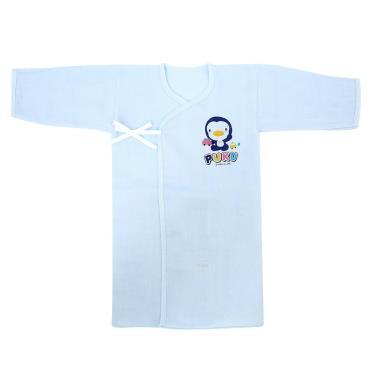 PUKU 藍色企鵝 反袖口紗布長肚衣-(0~3月) 60CM 水藍