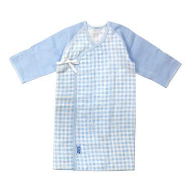 PUKU 藍色企鵝 典雅反袖口紗布長肚衣-(0~3月)60CM 水藍