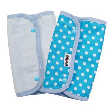 PUKU 藍色企鵝 揹帶口水墊/口水巾2入裝(15*22cm)-水色
