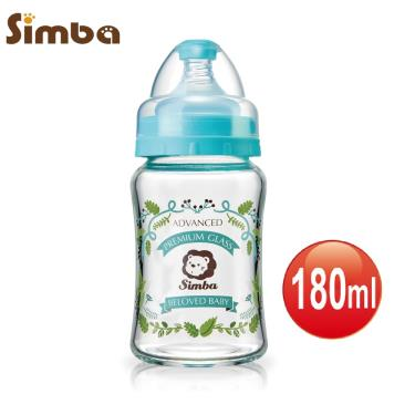 小獅王辛巴蘿蔓晶鑽寬口玻璃小奶瓶180ml-藍