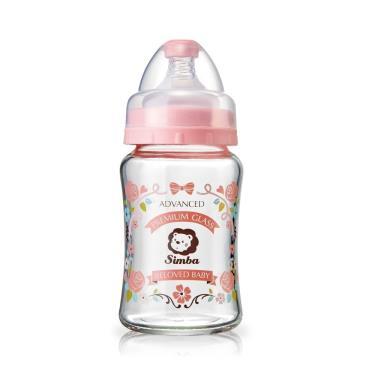 小獅王辛巴蘿蔓晶鑽寬口玻璃小奶瓶180ml-粉