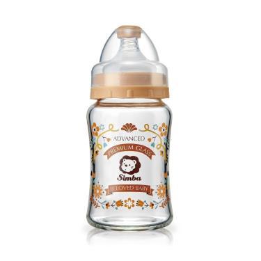 小獅王辛巴蘿蔓晶鑽寬口玻璃小奶瓶180ml-咖