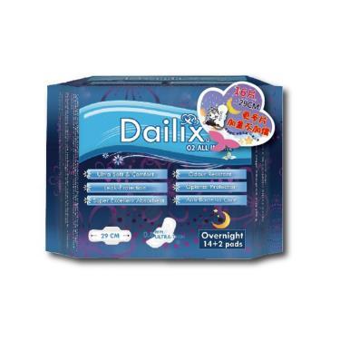 Dailix 抑菌抗敏淨味超乾爽透氣衛生棉-夜用型 16片/包