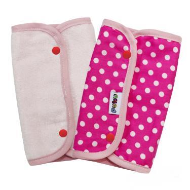 PUKU 藍色企鵝 揹帶口水墊/口水巾2入裝(15*22cm)-粉色