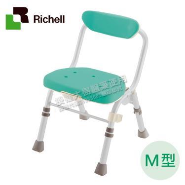 日本Richell利其爾 可收摺高椅背洗澡椅M型-綠色 廠送