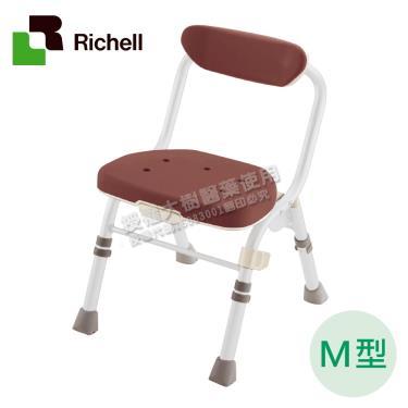 日本Richell利其爾 可收摺高椅背洗澡椅M型-咖啡色 廠送
