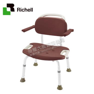 日本Richell利其爾 扶手型軟墊洗澡椅(椅面加寬)-咖啡色 廠送