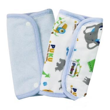 PUKU 藍色企鵝 揹帶口水墊/口水巾2入裝-印花藍