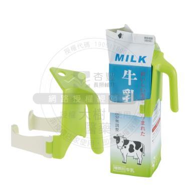 日本Richell利其爾 利樂牛奶瓶輔助把手(綠色) 適用紙盒容量500ml與1000ml