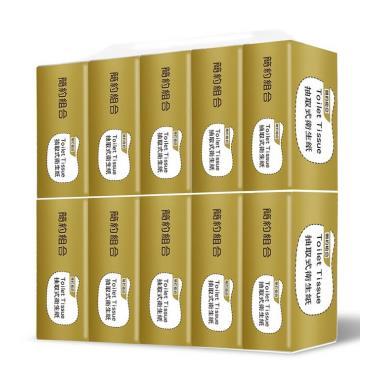 (共80包) 簡約組合 優質抽取式衛生紙150抽x10包x8串/箱(金)-廠送