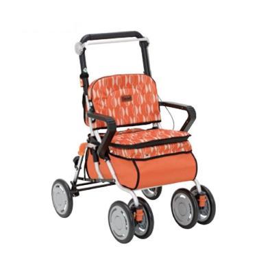 日本幸和TacaoF標準型步行車R127 帶輪型助步車/助行椅/散步車(橘北歐風) 廠送