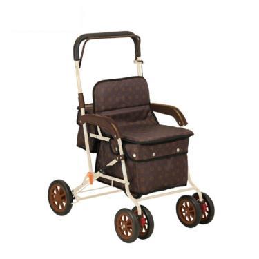 日本幸和TacaoF標準型步行車R129 助行椅 散步車(花樣咖啡) 廠送