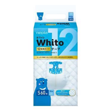 (送濕巾2包)日本 王子 Whito 純白超薄長效紙尿褲-黏貼型S240片(60片x4包)箱購-廠送 活動至09/30