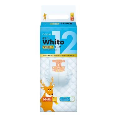 (送濕巾2包)王子 Whito 純白超薄長效黏貼型紙尿褲M48片x4包(箱購)-廠送 活動至09/30