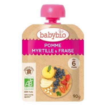 BABYBIO 有機蘋果藍莓草莓纖果泥(90g/包)