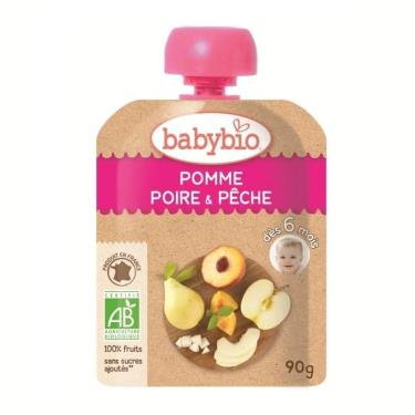 BABYBIO 有機蘋果洋梨纖果泥(90g/包)