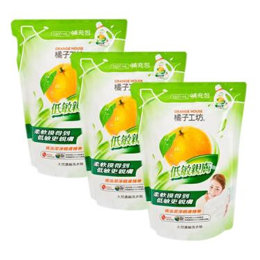 橘子工坊 天然濃縮洗衣精補充包-低敏親膚1500ml x3入組(廠送)
