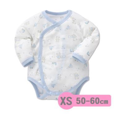 Baby City 娃娃城 天絲棉長袖初生連身衣 玩具熊(藍色 XS 50-60cm)