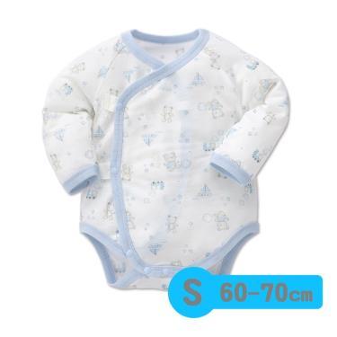 Baby City 娃娃城 天絲棉長袖初生連身衣 玩具熊(藍 S 60-70cm)