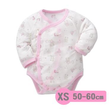 Baby City 娃娃城 天絲棉長袖初生連身衣 玩具熊(粉XS 50-60cm)