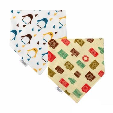 PUKU 藍色企鵝  柔棉造型領巾2入-企鵝