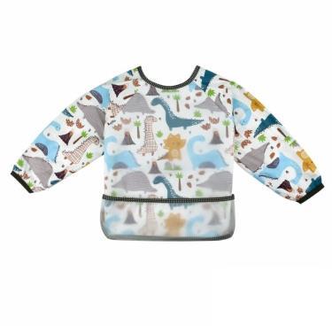 PUKU 藍色企鵝  長袖立體防水圍兜衣 恐龍世界