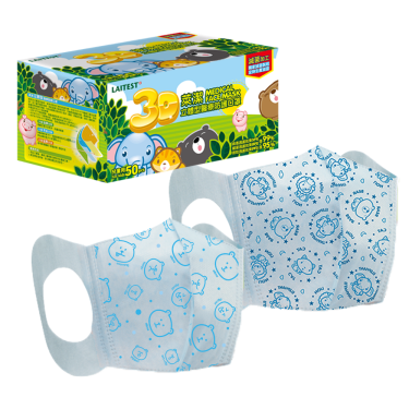 LAITEST萊潔 動物家族 兒童3D醫療防護口罩 藍色印花 (50入/盒)