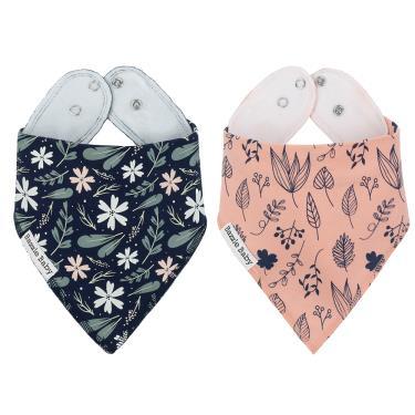 美國 Bazzle baby 口水巾-現代花卉和手繪葉子 2入/組