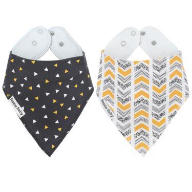 美國 Bazzle baby 口水巾-幾何圖形和灰色黃芥末 2入/組