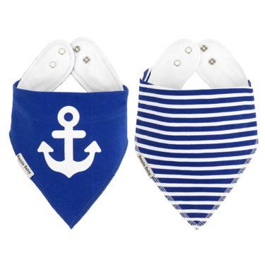 美國 Bazzle baby 口水巾-藍色水手和錨 2入/組
