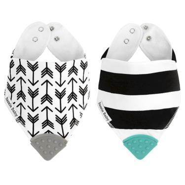 美國 Bazzle baby 固齒口水巾-黑白箭頭和條紋 2入/組