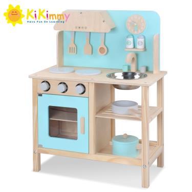 Kikimmy馬卡龍木製廚房玩具組-綠色 廠送