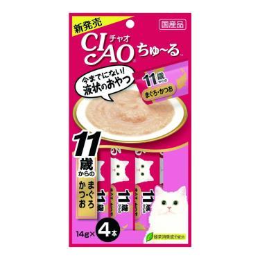 CIAO 啾嚕11歲肉泥-鮪魚+鰹魚14g*4入/包 日本製