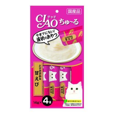 CIAO 啾嚕肉泥-雞肉+甜蝦14g*4入/包 日本製