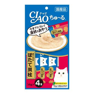 CIAO 啾嚕肉泥-鮪魚+干貝14g*4入/包 日本製