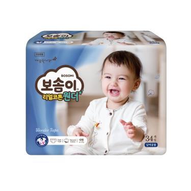 (送濕巾4包)(二箱購)韓國Bosomi 寶舒美 頂級美國棉紙尿褲/尿布L34片x4包x2箱-廠送 活動至09/30