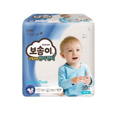 (送濕巾4包)(二箱購)韓國Bosomi 寶舒美 美國棉拉拉褲/褲型/尿布 男孩XXL20片x4包x2箱-廠送 活動至09/30
