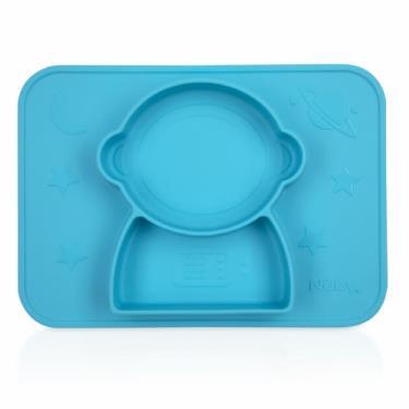 Nuby 矽膠分隔餐盤-太空人/藍