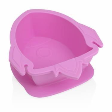Nuby 矽膠餐碗-火箭(粉)