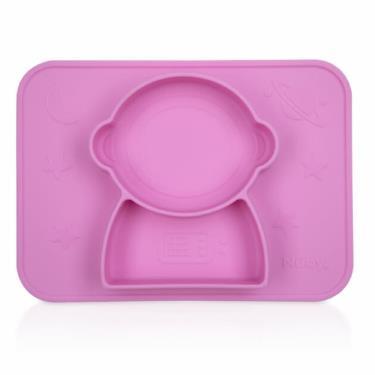 Nuby 矽膠分隔餐盤-太空人-粉