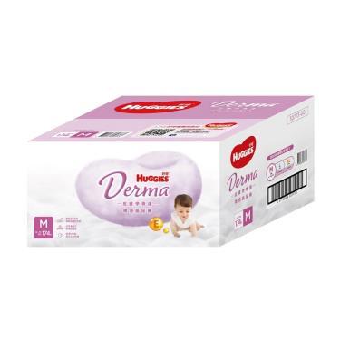 (滿額折/兩箱送)好奇 Derma皮膚學專護裸感紙尿褲M174片(58片x3包)-箱購 活動至09/30