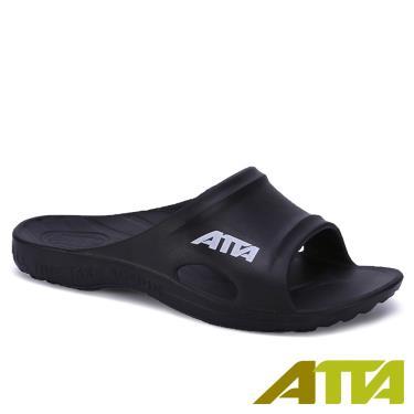 ATTA 足底均壓 足弓支撐簡約休閒拖鞋 黑色 (7號)