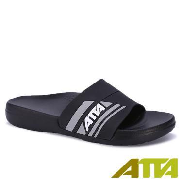 ATTA 運動風圖紋室外拖鞋 黑色 (29號)
