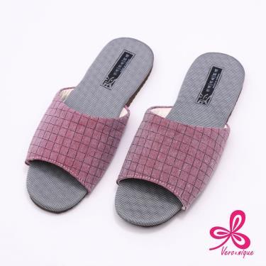 維諾妮卡 方格竹炭機能乳膠室內拖鞋 紅色 (M號)