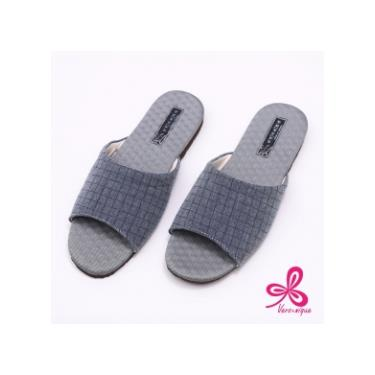 維諾妮卡 方格竹炭機能乳膠室內拖鞋 藍色 (L號)