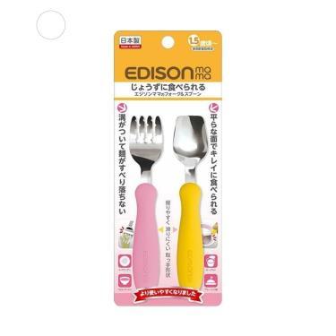 日本EDISON 嬰幼兒學習餐具組-1.5歲以上-(粉+黃)