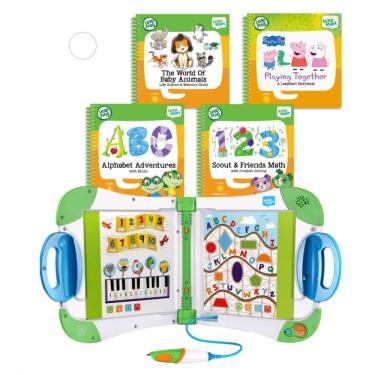 LeapFrog 迪士尼全英文幼童點讀學習系列 幼兒綠白主機+4書(幼兒2、3、9、14)-廠送