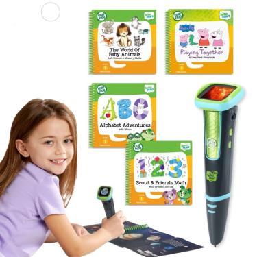 LeapFrog 迪士尼全英文點讀學習系列 點讀Go學習筆(綠色)+4書(幼兒2、3、9、14)-廠送