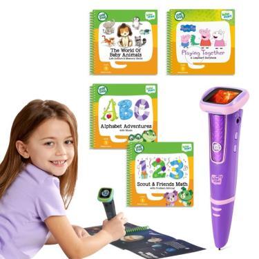LeapFrog 迪士尼全英文點讀學習系列 點讀Go學習筆(粉色)+4書(幼兒2、3、9、14)-廠送